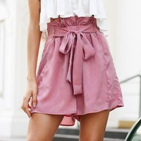 Ruffle bow tie up shorts women Chic pink loose streetwear shorts femme Casual beach elastic high waist shorts