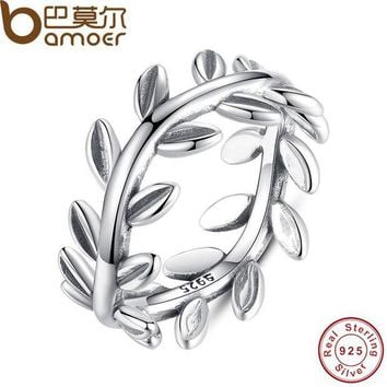 ONETOW BAMOER 2017 New Collection Authentic Laurel Wreath Laurel Leaves Ring 100% Fine 925 Sterling Silver Jewelry PA7156