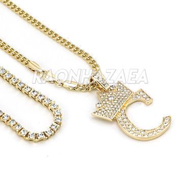 Iced Out Crown C Initial Pendant Necklace Set