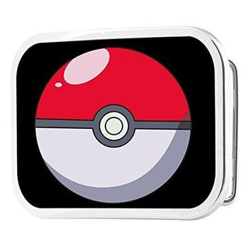 Pokemon Animated TV Series Black Back Poke Ball Rockstar Belt Buckle