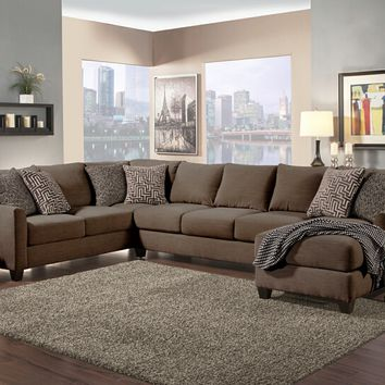 Benchley Poetic Sect Espresso 3 pc peotic collection espresso color fabric upholstered sectional sofa with flared arms and chaise