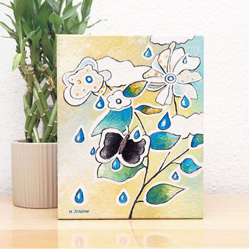 Flower Painting on Canvas - Original Abstract Painting - Acrylic Painting - Whimsical Art 8x10x1.5