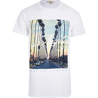 River Island MensWhite Los Angeles 1979 print t-shirt
