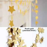Shimmer yellow gold garland - Holiday decor - Star garland - Gold wedding