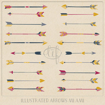 Arrow ClipArt Set 2 Hand Drawn Pink, Navy Blue Yellow tribal arrow clip art for logo and other graphic design, invitations, and card making