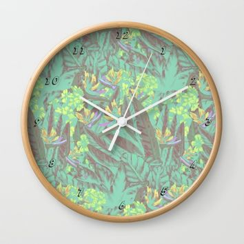 Tropical Paradise: Jade Jungle Wall Clock by Ben Geiger