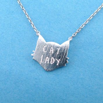 Proud Cat Lady Cat Face Shaped Pendant Necklace in Silver