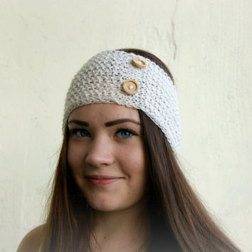 Handmade Knit Cable headband with wood buttons, ear warmer, head wrap, ivory white, with wool