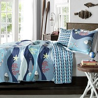 Twin Blue Serenity Sea Fish Coral Coverlet Quilt Bedspread Set