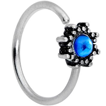 "20 Gauge 5/16"" Blue Faux Opal Triad Seamless Circular Ring"