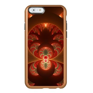 Luminous abstract modern orange red Fractal Incipio Feather® Shine iPhone 6 Case