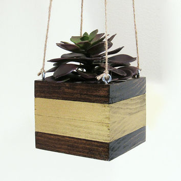 Hanging Planter, Succulent Planter, Wood Planter, Modern Planter, Indoor Planter, Air Plant Holder, Geometric Planter, Succulent Pot, Gold