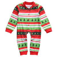 Family Matching Outfits Clotheing Christmas Green Striped Pyjamas Matching Family PJs Mum/Dad/Big/Little/Baby/Kids