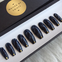 Black Marble Press On Nails | Any Shape and Size | Fake False Glue On Nails | Nail Art Design
