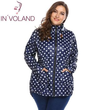 Trendy IN'VOLAND Women Hooded Hoodie Jacket Plus Size XL-5XL Spring Autumn Long Sleeve Dot Drawstring Sweatshirt Raincoat Coat Big Size AT_94_13