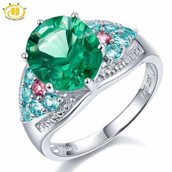 Hutang 6.16Ct Genuine Green Fluorite, Apatite, Tourmaline 925 Sterling Silver Cocktail Ring Women Fine Jewelry For Gift