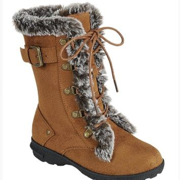 Girl's Tan Boots with Laces and Faux Fur