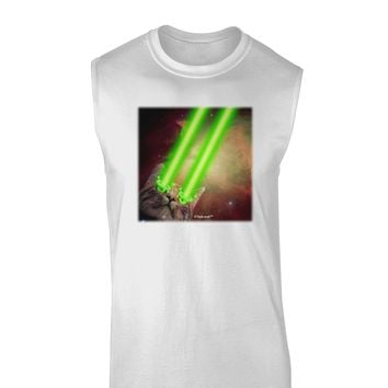 Laser Eyes Cat in Space Design Muscle Shirt  by TooLoud