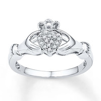 Claddagh Ring 1/15 ct tw Diamonds Sterling Silver