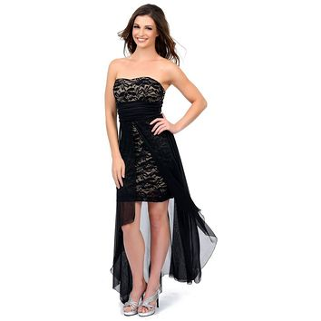 Black/Taupe High Low Semi Formal Dress Chiffon/Lace Strapless Neck