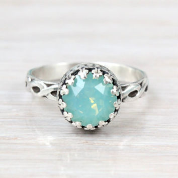 Mint green sterling silver ring with 8 mm Swarovski Pacific Opal crystal, vintage ring, antique etched floral band,  October birthstone