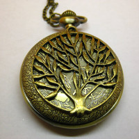 Pocket watch pendant branches of trees natural cp2