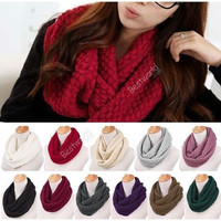 Unisex Women Winter Warm Infinity 2 Circle Cable Knit Cowl Neck Scarf Shawl = 1958229700