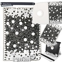 Jersey Bling® iPad Mini 3D Gems Crystal & Rhinestone Faux Leather Folio w/360 Rotating Case & Built-in Stand & Stylus