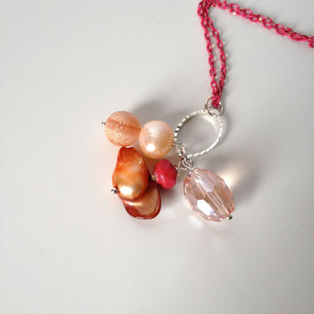 Long Light Necklace with frosted Agate, Pearls & Crystal Pendant