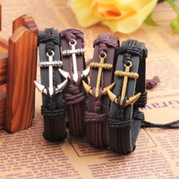 New Arrivals Leather Anchor Bracelet For Men Women Anchors Charm Male Bangle Bracelet Chain Waistband Best friend gift