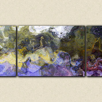 "Large triptych abstract art canvas print, 30x72 to 40x90 giclee, in purple, green and yellow, ""On the Bogue Chitto"""