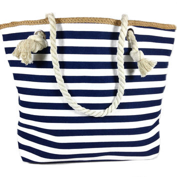 Banded Striped Beach Town Tote Bag with Rope Handles (Blue and White)