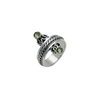 Mirror Reflection Sterling Silver Peridot Spinner Ring