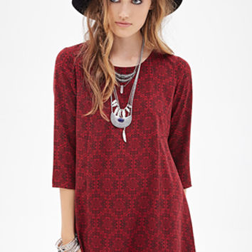 FOREVER 21 Honeycomb Print Babydoll Dress Burgundy/Black