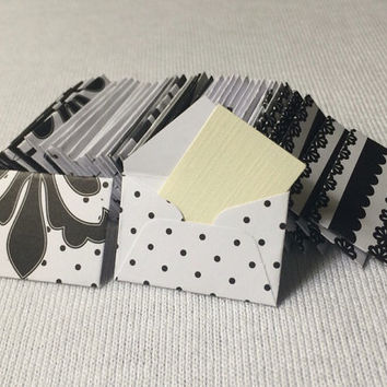 Mini black and white envelopes with tiny note cards 1x1.5""