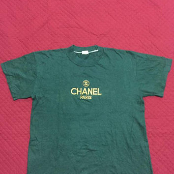 Vintage Aunthentic CHANEL PARIS Gold Embroidered Luxury Brand Shirts Saiz M..