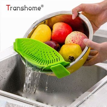 1Pcs Silicone Pot Pan Bowl Funnel Strainer Kitchen Rice Washing Colander ABS Strainers Cooking Tools Gadgets Kitchen Accessories