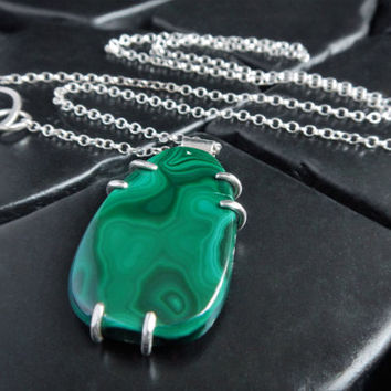Malachite and Sterling Silver Pendant Necklace - Malachite Pendant - Green Stone Necklace - Unisex Pendant - Gifts Under 50 - Gift for Her