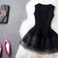 Milena LBD Black Baby Doll A-Line Dress w/ Organza Layered Skirt
