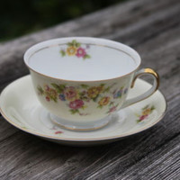Empress China Kitchen Coffee Tea Cup and Saucer Vintage Rose Pattern Gold Trim