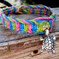 Turtle Charm Hemp Bracelet Macrame Fishbone Knot Organic Jewelry Natural