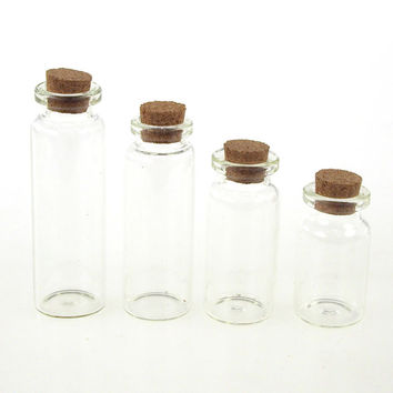 Mini Corked Jar Bottles, 4 Size, 4-pack