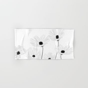 black and white cosmos  Hand & Bath Towel by Color and Color