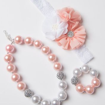 Peach & white little girl necklace
