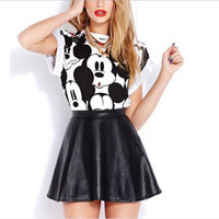 Cute Women Mickey Mouse Disney Cartoon Pattern T-Shirt sexy bottoming short skirt suit