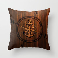 Wooden Anchor Throw Pillow by Nicklas Gustafsson