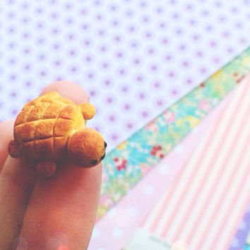 Squishy Inspired Torto Turtle Bread Bun Polymer Clay Charm Figurine