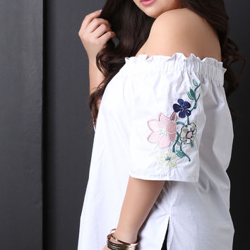 Off The Shoulder Embroidered Floral Sleeve Top