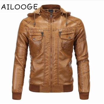 Hooded Leather Jacket Men jaqueta de couro masculina Men's Thick PU leather Coat Men Winter Faux Fur Fleece Jackets for Male