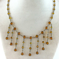 Crystal Fringe Necklace Vintage Art Deco Amber Glass Bezel Set Rhinestones 1920s Antique Jewelry Wedding Bridal Necklace